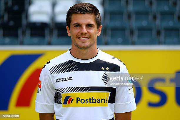 Jonas Hofmann poses during the team presentation of Borussia Moenchengladbach at BorussiaPark on August 1 2016 in Moenchengladbach Germany