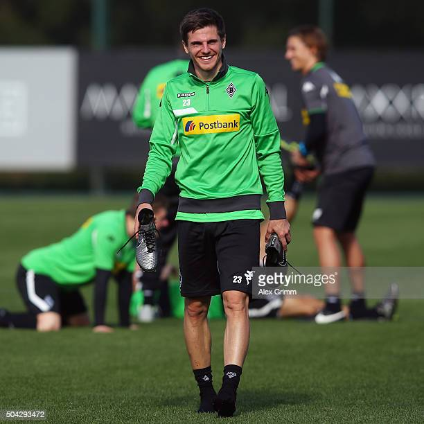 Jonas Hofmann smiles after a Borussia Moenchengladbach training session on day 5 of the Bundesliga Belek training camps at Maxx Royal Golf Resort on...