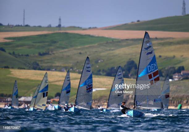 Jonas HoghChristensen of Denmark in action during the second Finn Class race of the London 2012 Olympic Games at the Weymouth Portland Venue at...
