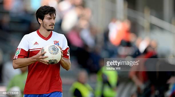 Jonas Hummels of Unterhaching holds the ball during the Third League match between SpVgg Unterhaching and SV Elversberg at Sportpark Unterhaching on...