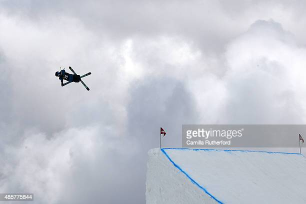 Jonas Hunziker of Switzerland competes in the Snowboard AFP Freeski Big Air Finals during the Winter Games NZ at Cardrona Alpine Resort on August 30...