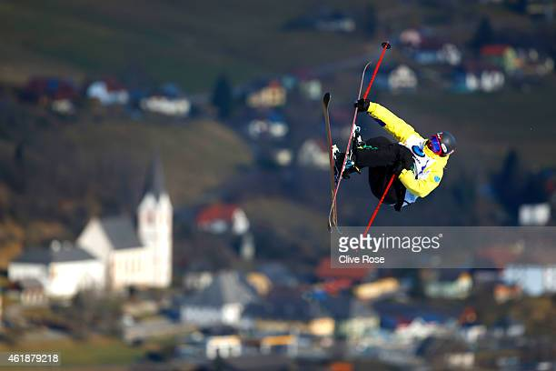 Jonas Hunziker of Switzerland makes a practice run during the Men's Freestyle Skiing Slopestyle Final of the FIS Freestyle Ski and Snowboard World...