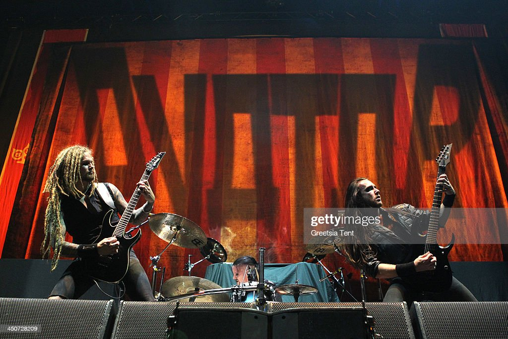 Jonas Jarlsby and Tim Ohrstrom of the Swedish band Avatar perform supporting Avenged Sevenfold at the Ziggo Dome on November 19, 2013 in Amsterdam, Netherlands.