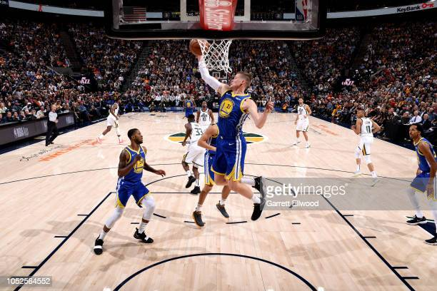 Jonas Jerebko of Golden State Warriors shoots the ball against the Utah Jazz during a game on October 19 2018 at Vivint Smart Home Arena in Salt Lake...