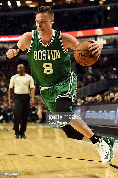 Jonas Jerebko of the Boston Celtics drives to the basket during the first half of a game against the Chicago Bulls at the United Center on October 27...