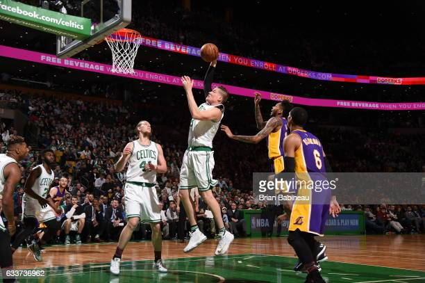 Jonas Jerebko of the Boston Celtics goes to the basket against the Los Angeles Lakers on February 3 2017 at the TD Garden in Boston Massachusetts...