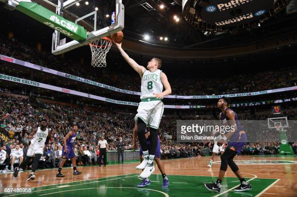 Jonas Jerebko of the Boston Celtics goes to the basket against the Phoenix Suns on March 24 2017 at the TD Garden in Boston Massachusetts NOTE TO...