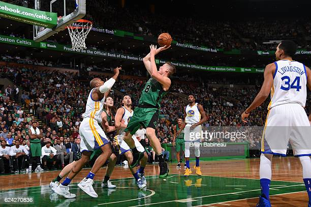 Jonas Jerebko of the Boston Celtics goes up for a shot during a game against the Golden State Warriors on November 18 2016 at TD Garden in Boston...