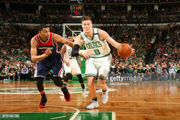 Jonas Jerebko of the Boston Celtics handles the ball against the Washington Wizards in Game One of the Eastern Conference Semifinals of the 2017 NBA...