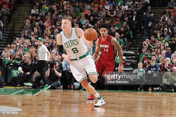 Jonas Jerebko of the Boston Celtics handles the ball against the Miami Heat on February 27 2016 at the TD Garden in Boston Massachusetts NOTE TO USER...