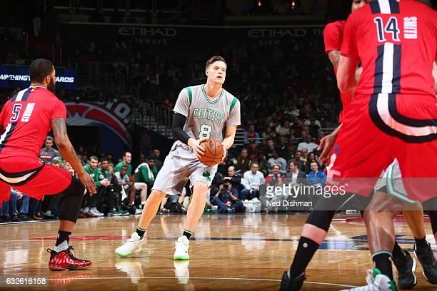 Jonas Jerebko of the Boston Celtics handles the ball against the Washington Wizards on January 24 2017 at Verizon Center in Washington DC NOTE TO...