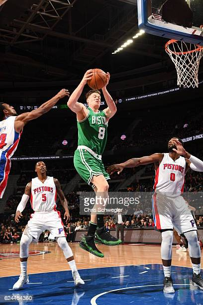 Jonas Jerebko of the Boston Celtics shoots the ball against the Detroit Pistons during the game on November 19 2016 at The Palace of Auburn Hills in...