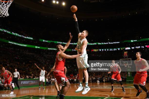 Jonas Jerebko of the Boston Celtics shoots the ball against the Chicago Bulls during the game on March 12 2017 at the TD Garden in Boston...