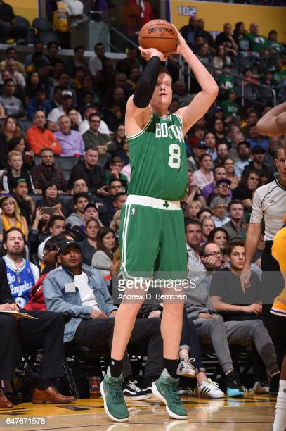 Jonas Jerebko of the Boston Celtics shoots the ball during a game against the Los Angeles Lakers on March 3 2017 at STAPLES Center in Los Angeles...