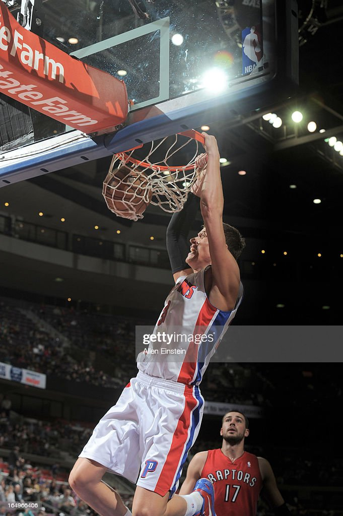 Jonas Jerebko #33 of the Detroit Pistons dunks the ball during the game between the Detroit Pistons and the Toronto Raptors on March 29, 2013 at The Palace of Auburn Hills in Auburn Hills, Michigan.