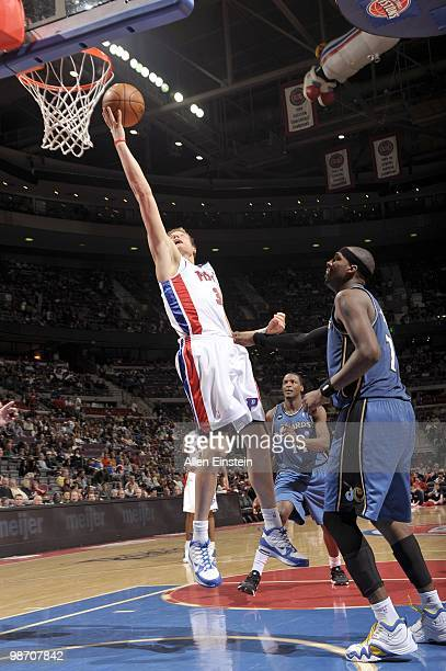 Jonas Jerebko of the Detroit Pistons goes for a layup past Andray Blatche of the Washington Wizards during the game on March 12 2010 at The Palace of...
