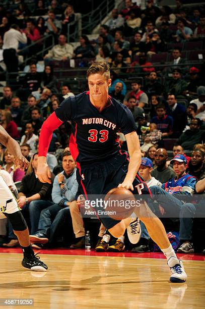 Jonas Jerebko of the Detroit Pistons handles the ball against the Utah Jazz during the game on November 9 2014 at The Palace of Auburn Hills in...