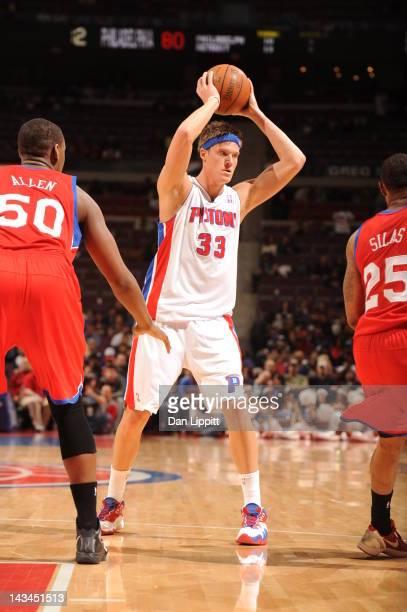 Jonas Jerebko of the Detroit Pistons looks to pass during the game between the Detroit Pistons and the Philadelphia 76ers on April 26 2012 at The...
