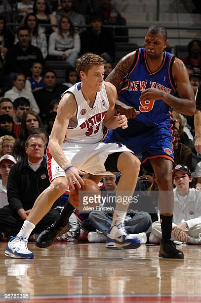 Jonas Jerebko of the Detroit Pistons makes a move against Jonathan Bender of the New York Knicks during the game at the Palace of Auburn Hills on...