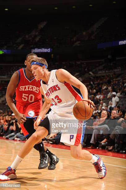 Jonas Jerebko of the Detroit Pistons protects the ball during the game between the Detroit Pistons and the Philadelphia 76ers on April 26 2012 at The...