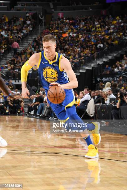 Jonas Jerebko of the Golden State Warriors handles the ball against the Los Angeles Lakers during a preseason game on October 10 2018 at TMobile...