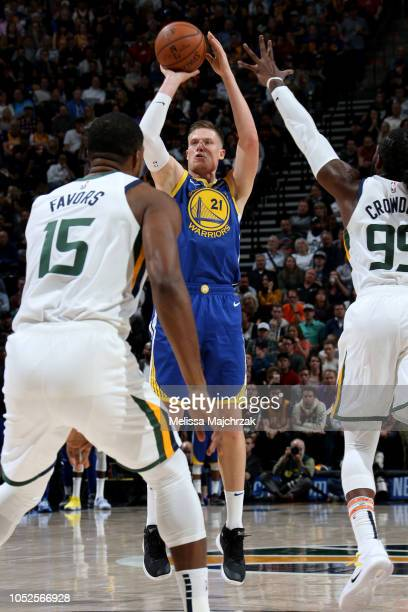 Jonas Jerebko of the Golden State Warriors shoots the ball against the Utah Jazz during a game on October 19 2018 at Vivint Smart Home Arena in Salt...