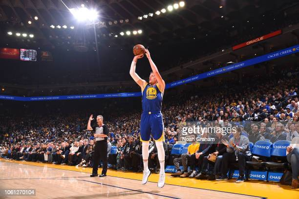 Jonas Jerebko of the Golden State Warriors shoots the ball against the Atlanta Hawks on November 13 2018 at ORACLE Arena in Oakland California NOTE...