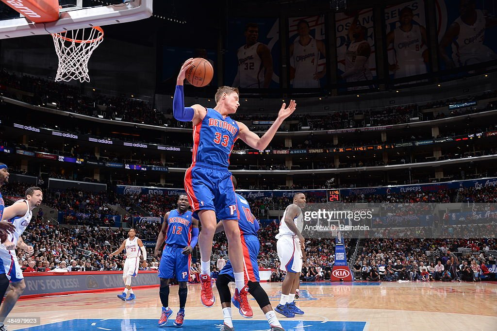 Jonas Jerebko #33 of the Los Angeles Clippers grabs a rebound against the Detroit Pistons at STAPLES Center on March 22, 2014 in Los Angeles, California.