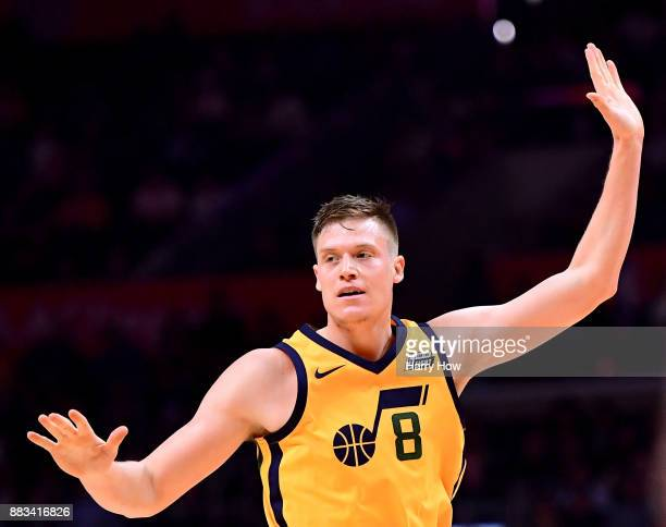 Jonas Jerebko of the Utah Jazz celebrates his three point during a 126107 win over the LA Clippers at Staples Center on November 30 2017 in Los...