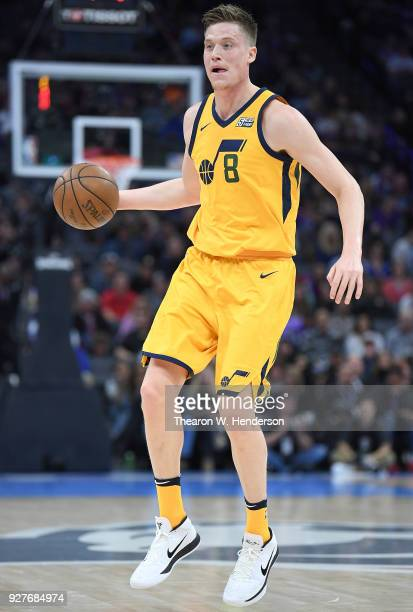 Jonas Jerebko of the Utah Jazz dribbles the ball against the Sacramento Kings during an NBA basketball game at Golden 1 Center on March 3 2018 in...