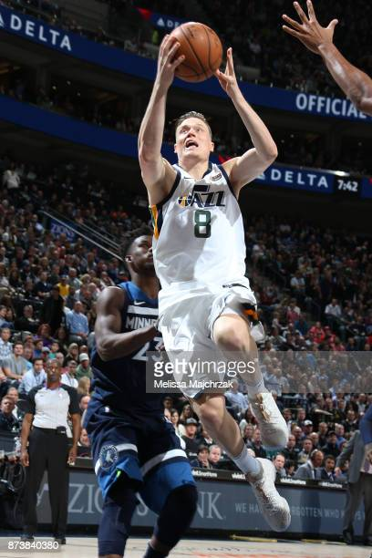 Jonas Jerebko of the Utah Jazz drives to the basket against the Minnesota Timberwolves on Novemeber 13 2017 at Vivint Smart Home Arena in Salt Lake...