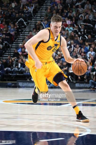 Jonas Jerebko of the Utah Jazz handles the ball against the Denver Nuggets on November 28 2017 at vivintSmartHome Arena in Salt Lake City Utah NOTE...