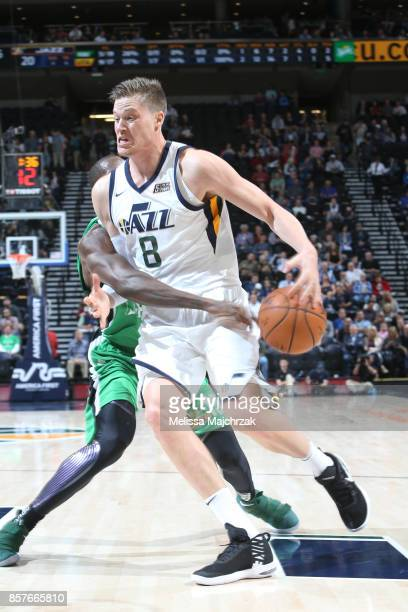 Jonas Jerebko of the Utah Jazz handles the ball against the Maccabi Haifa during a preseason game on October 4 2017 at vivintSmartHome Arena in Salt...