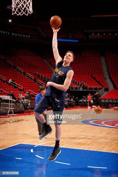 Jonas Jerebko of the Utah Jazz handles the ball before the game against the Detroit Pistons on January 24 2018 at Little Caesars Arena in Detroit...