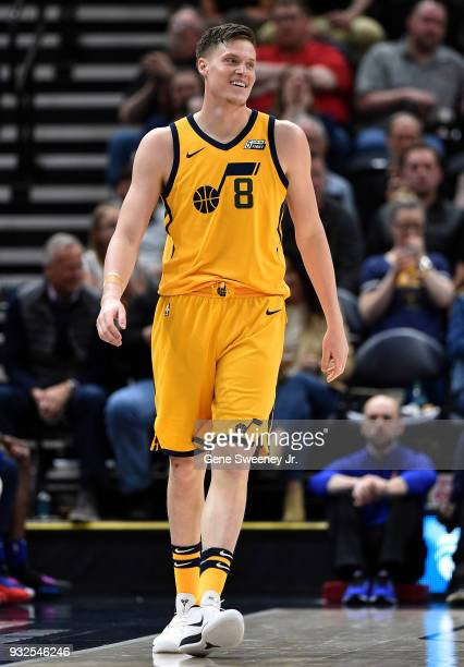 Jonas Jerebko of the Utah Jazz looks on in a game against the Detroit Pistons at Vivint Smart Home Arena on March 13 2018 in Salt Lake City Utah NOTE...