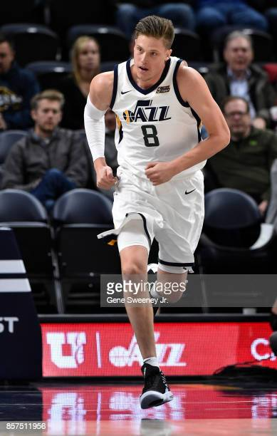 Jonas Jerebko of the Utah Jazz runs up court during their game against the Sydney Kings at Vivint Smart Home Arena on October 2 2017 in Salt Lake...