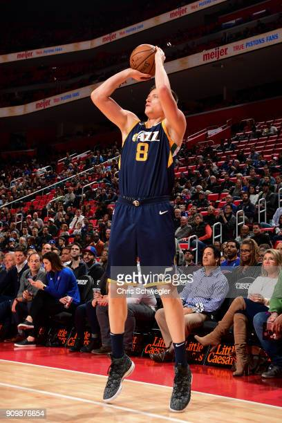 Jonas Jerebko of the Utah Jazz shoots the ball against the Detroit Pistons on January 24 2018 at Little Caesars Arena in Detroit Michigan NOTE TO...