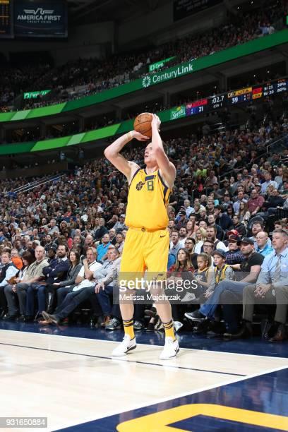 Jonas Jerebko of the Utah Jazz shoots the ball against the Detroit Pistons on March 13 2018 at vivintSmartHome Arena in Salt Lake City Utah NOTE TO...