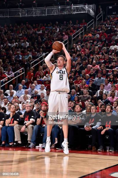 Jonas Jerebko of the Utah Jazz shoots the ball against the Houston Rockets in Game Five of the Western Conference Semifinals of the 2018 NBA Playoffs...