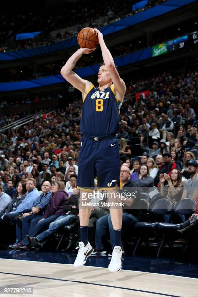 Jonas Jerebko of the Utah Jazz shoots the ball during the game against the Orlando Magic on March 5 2018 at vivintSmartHome Arena in Salt Lake City...