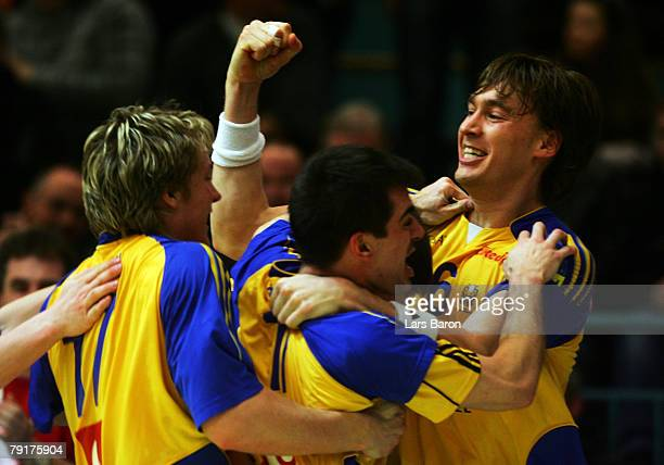 Jonas Kaellmann of Sweden celebrates with team mates after scoring the winning goal during the Men's Handball European Championship main round Group...