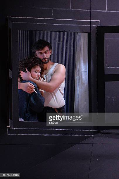 Jonas Kaufmann and Annalisa Stroppa are seen during a photo rehearsal for the opera Cavalleria rusticana/Pagliacci prior the Salzburg Easter Festival...