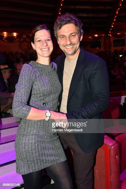 Jonas Kaufmann and his partner Christiane Lutz during Circus Krone celebrates premiere of 'In Memoriam' at Circus Krone on December 25 2017 in Munich...