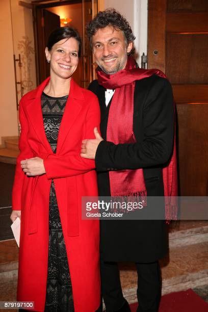 Jonas Kaufmann and his partner Christiane Lutz during the 80th birthday party of Roland Berger at Cuvillies Theatre on November 25, 2017 in Munich,...