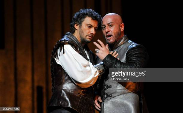 Jonas Kaufmann as Otello and Marco Vratogna as Iago in the Royal Opera's production of Giuseppe Verdi's Othello directed by Keith Warner and...