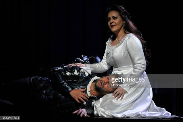 Jonas Kaufmann as Otello and Maria Agresta as Desdemona in the Royal Opera's production of Giuseppe Verdi's Othello directed by Keith Warner and...