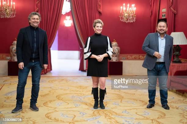 Jonas Kaufmann, Joyce DiDonato, Javier Camarena poses at the Teatro Real in Madrid, on January 14, 2021.Spain