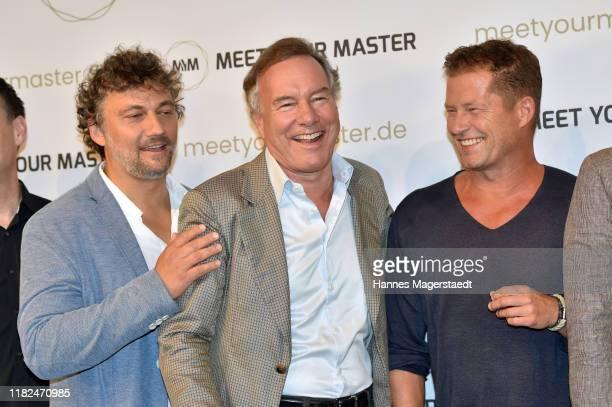Jonas Kaufmann Nico Hofmann and Til Schweiger at the launch event of Meet Your Master at Hotel Bayerischer Hof on October 21 2019 in Munich Germany