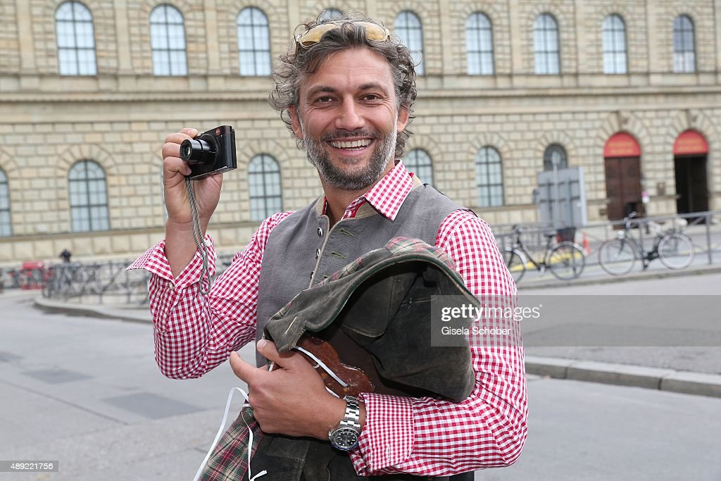 Jonas Kaufmann photographs during the 'Fruehstueck bei Tiffany' at Tiffany Store ahead of the Oktoberfest 2015 on September 19, 2015 in Munich, Germany.