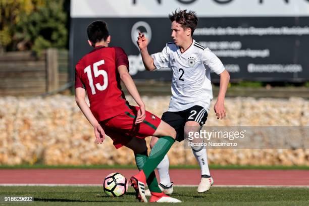 Jonas Kehl of Germany U17 challenges Bernardo Silva of Portugal U17 during U17Juniors Algarve Cup match between U17 Portugal and U17 Germany at Bela...